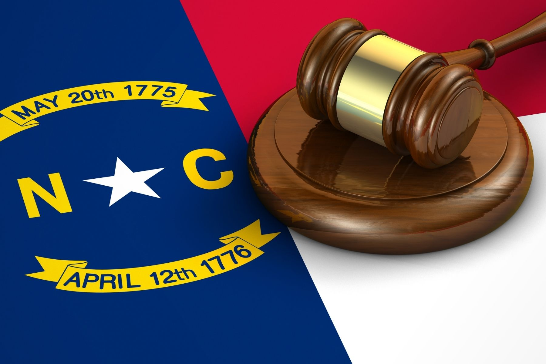 image of gavel and North Carolina flag